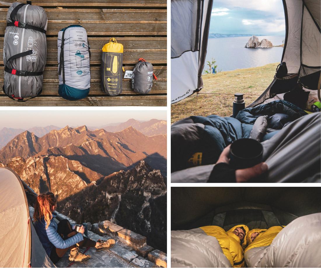 bivouac quechua et forclaz pour notre tour du monde , tente duvet matela