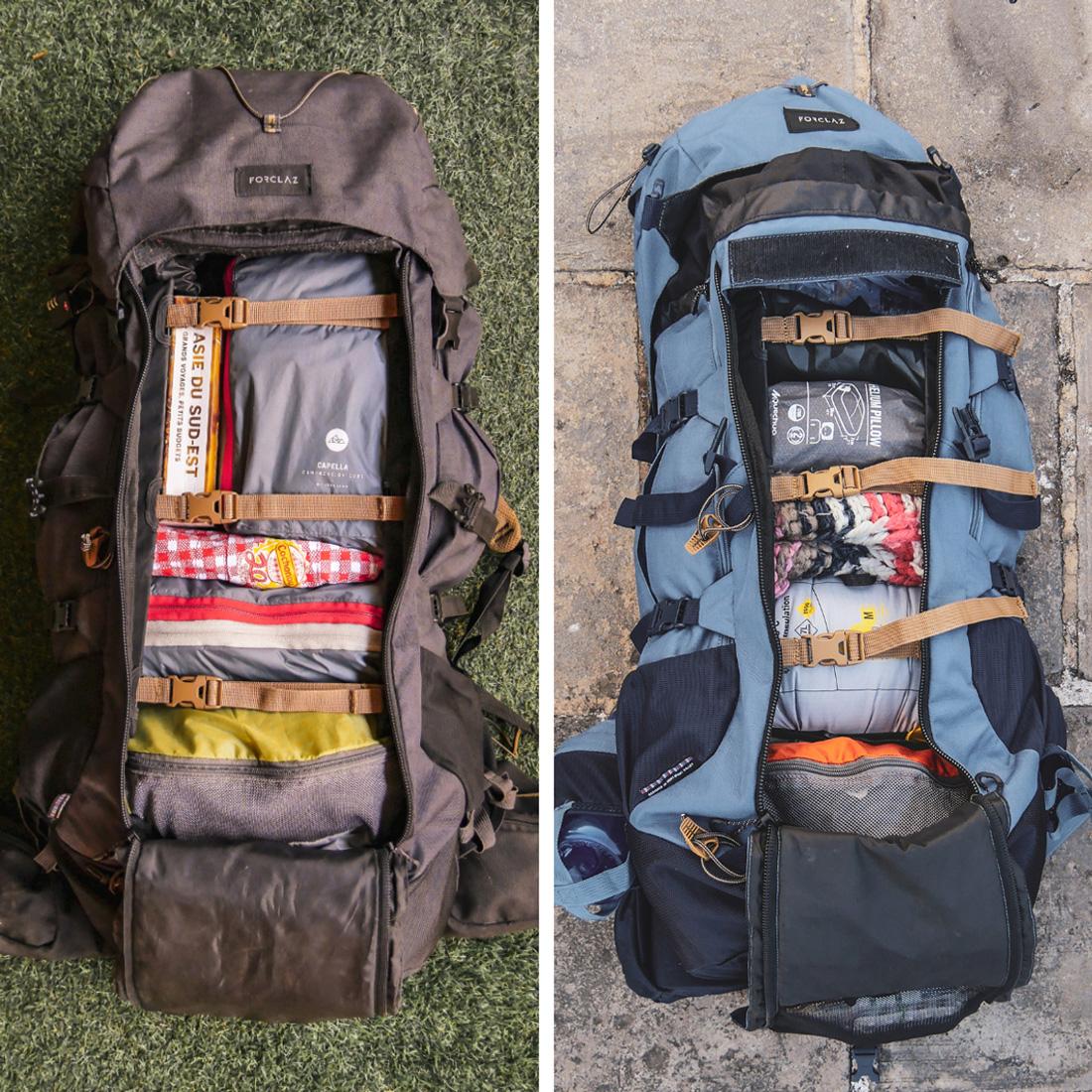 intérieur du sac forclaz trek900 pour notre tour du monde