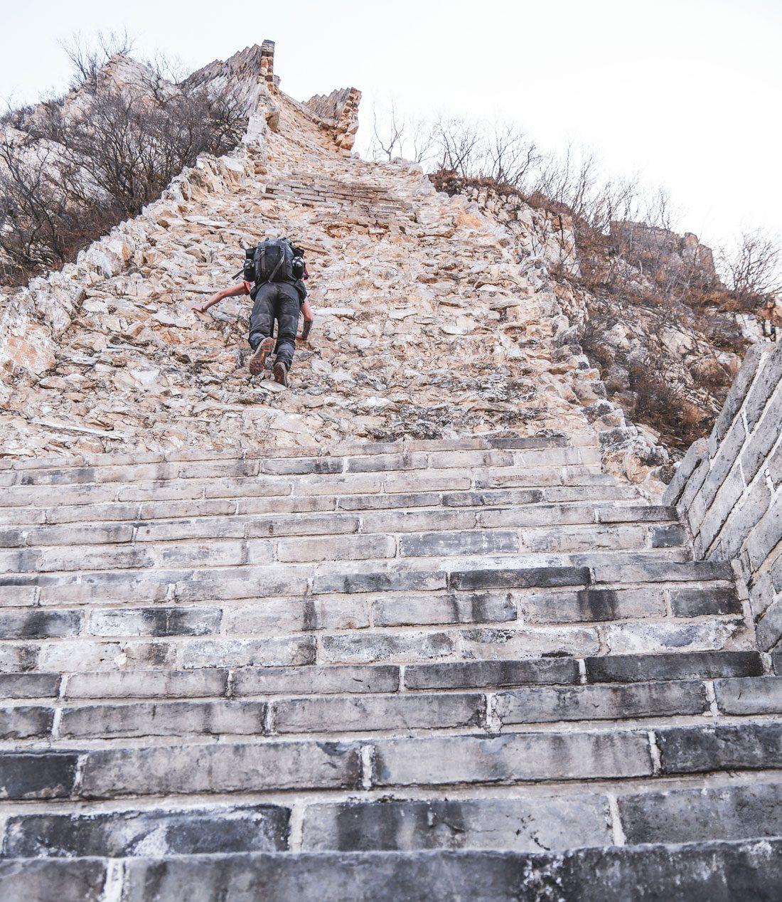 Escalade sur la grande muraille de Chine