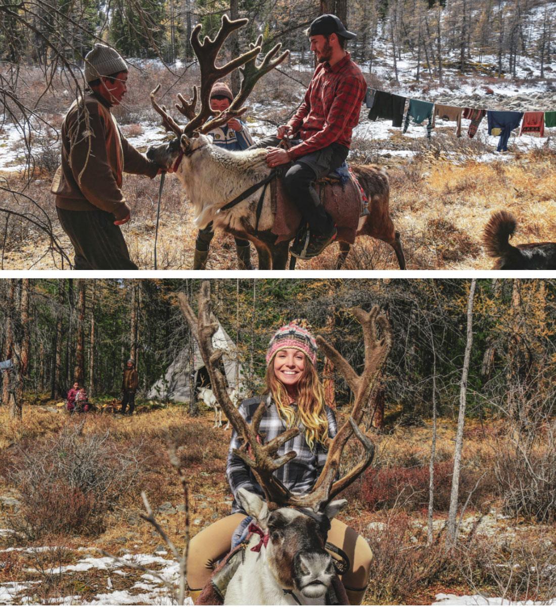 Première fois pour nous sur le dos d'un renne