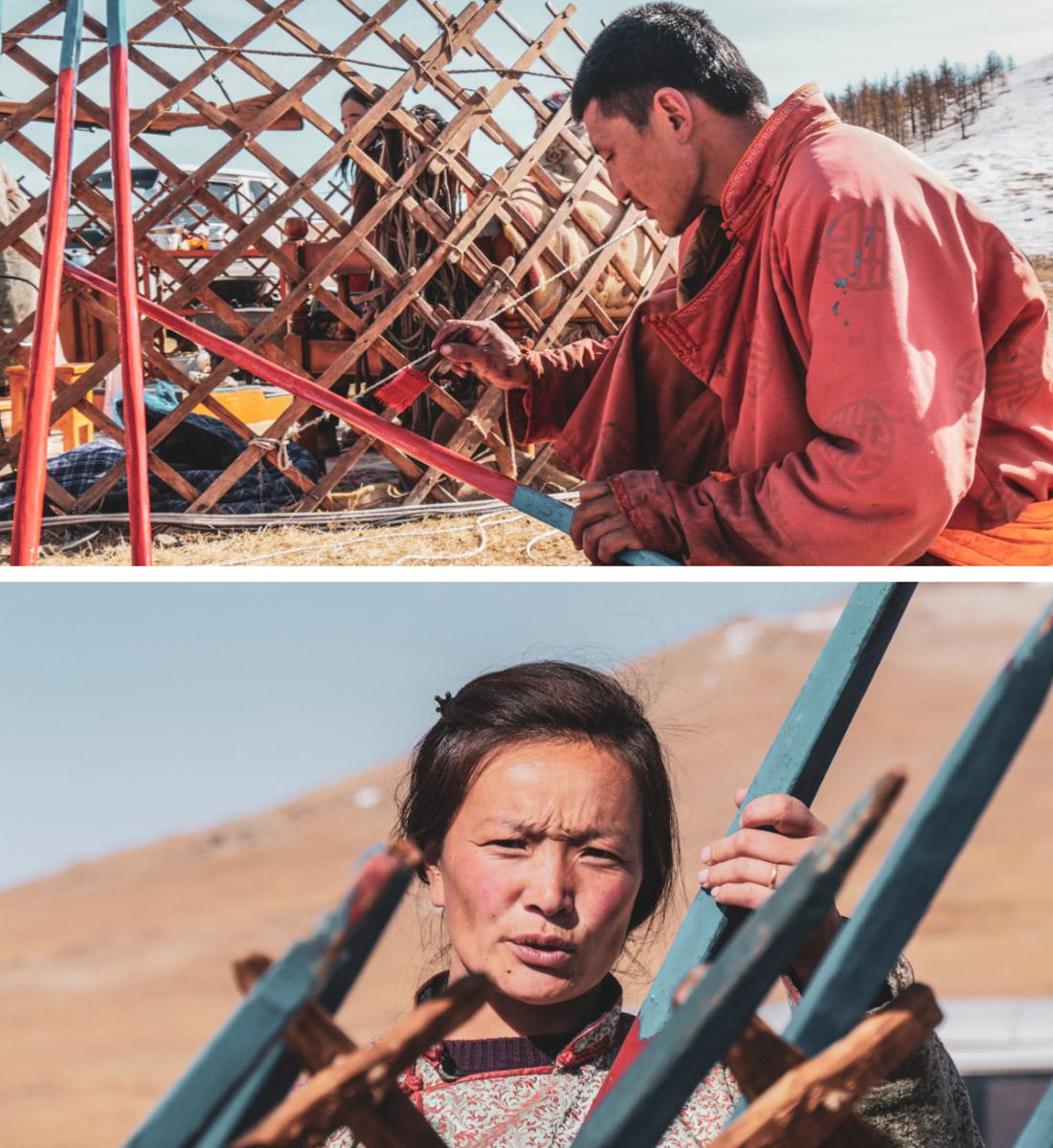 Famille nomade en train de construire sa yourte