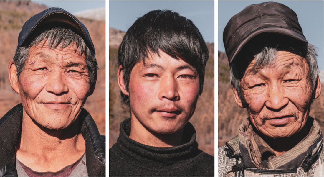 Portrait famille tsaatan hommes