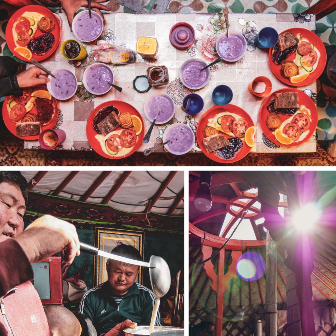 Repas dans une yourte traditionnelle avec des nomades