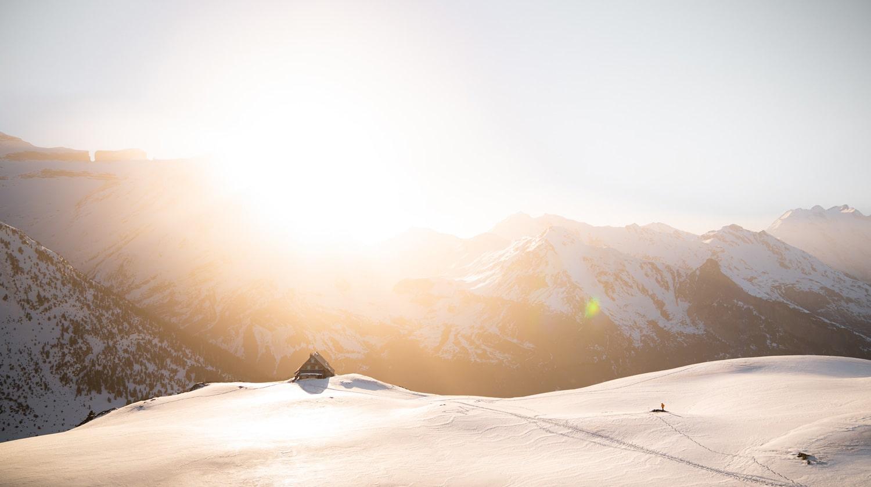 couché de soleil sur le refuge